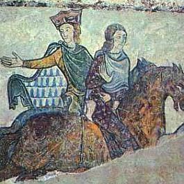 Jean sans Terre et sa mère Aliénor. Fragment d'une fresque de la chapelle Sainte Radegonde à Chinon