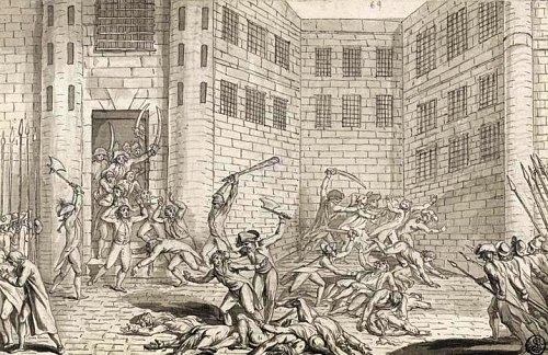 Massacres de septembre 1792 à la Prison des Carmes (couvent) le 2 septembre.  Un épisode sanglant de la Révolution française