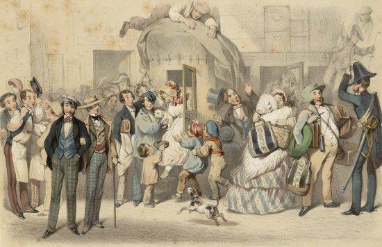 Arrivée d'une diligence au milieu du XIXe siècle