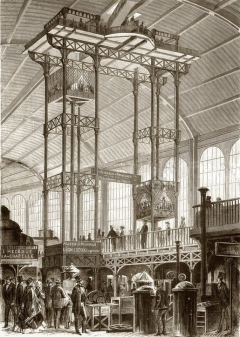 Monte-charge hydraulique conçu en 1867 par Léon Édoux