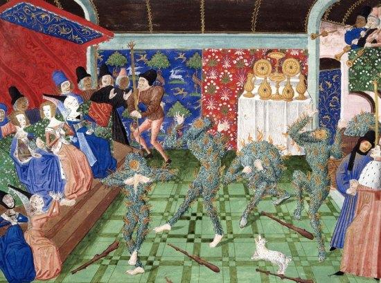 Représentation du Bal des ardents. Miniature attribuée à Philippe de Mazerolles, tirée d'un manuscrit des Chroniques de Froissart