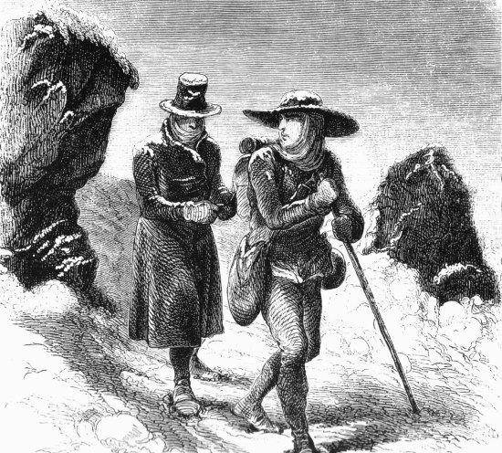 Balmat et Paccard lors de leur tentative d'ascension du Mont-Blanc
