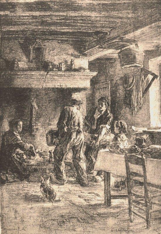 Tradition de la grande bûche de Noël. Dessin de Léon Lhermitte paru dans Le Monde illustré du 1er janvier 1884