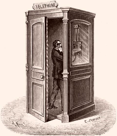 Une des premières cabines téléphoniques publiques installées à Paris en 1884