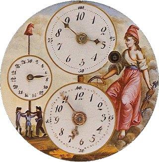 Cadran donnant l'heure républicaine et l'heure traditionnelle