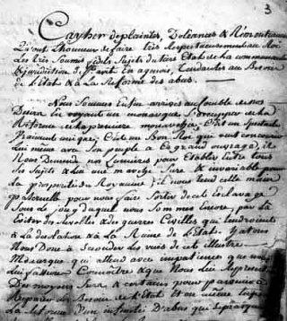 Cahier de Doléances de Saint-Avit