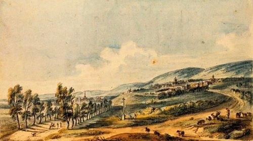 Vignoble de Meursault au XVIII<sup>e</sup> siècle, près de Beaune. Dessin de J.-B. Lallemand