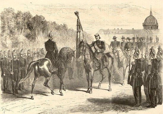 Le Maréchal Canrobert passe en revue les sapeurs-pompiers de Paris, sur l'esplanade des Invalides et leur remet le drapeau dont l'Empereur leur fait don à propos de leur organisation en régiment. Estampe de Gustave Janet (1829-1898)