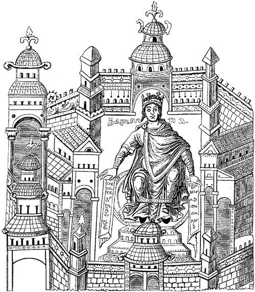 Roi carolingien dans son palais, sous les traits de la Sagesse