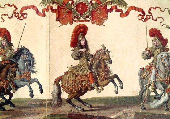 Louis XIV en empereur romain lors du Grand Carrousel de 1662. Gravure d'Israël Silvestre mise en couleur par Jacques Bailly (1670)