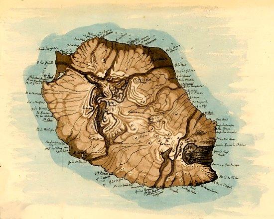Carte de l'île de La Réunion, anciennement île Bourbon, en 1802