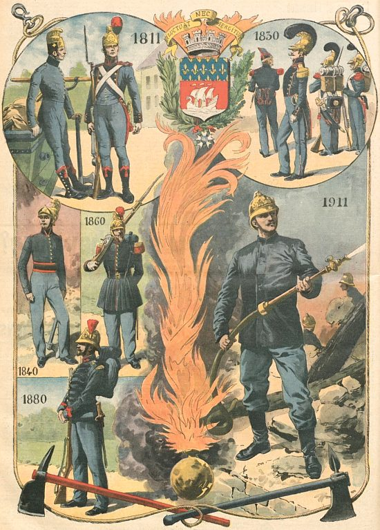Le centenaire des pompiers de Paris (uniformes historiques des pompiers parisiens 1811–1911). Illustration parue dans le Supplément illustré du Petit Journal du 8 octobre 1911
