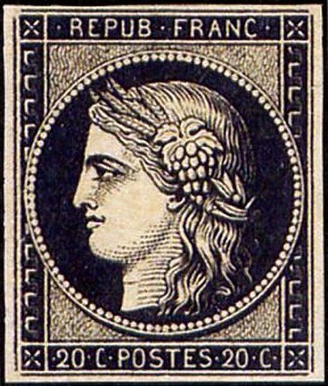 Le Cérès 20 centimes noir, premier timbre français, 1849
