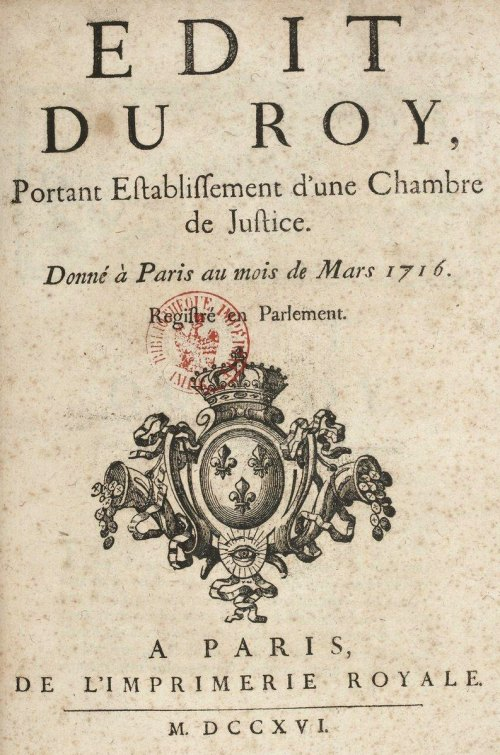 12 mars 1716 cr ation d 39 une chambre de justice charg e for Chambre de punition