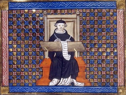 Copiste. Enluminure du XIVe - XVe siècle