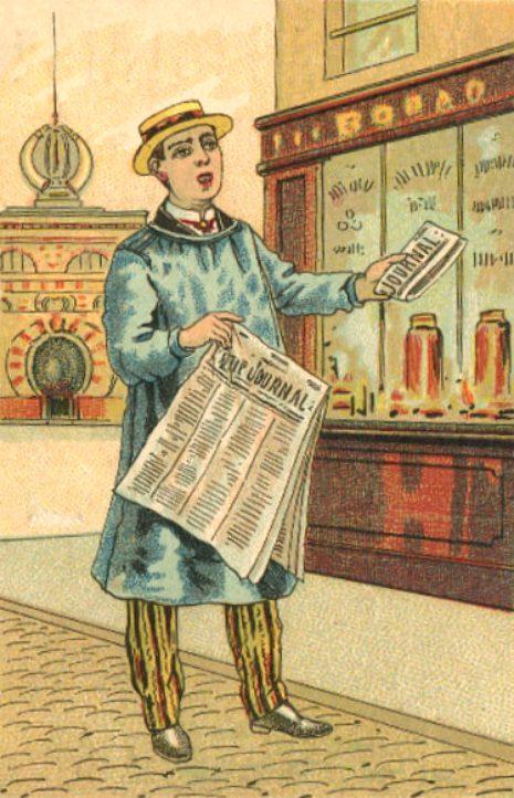 Crieur de journaux à la fin du XIXe siècle