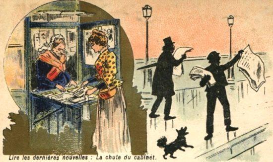 Crieur de journaux. Illustration de 1890