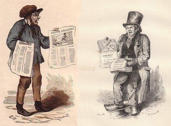 Crieurs de journaux du milieu du XIXe siècle
