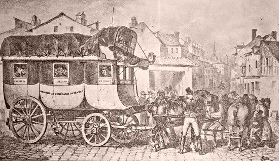 Diligence Lafitte & Caillard. Ce modèle, créé par les Messageries générales de France fondées en 1826, sillonnera la France avant d'être supplanté par le chemin de fer