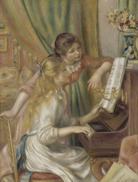 Jeunes filles au piano. Peinture d'Auguste Renoir (1892)