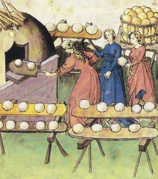 Cuisson du pain. Enluminure extraite du Recueil sur la santé, manuscrit du XVe siècle