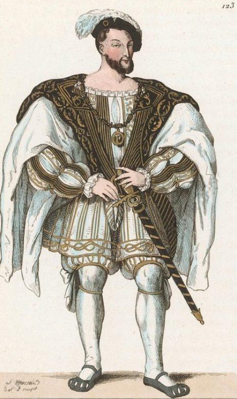 François Ier en costume de cérémonie. Gravure de 1850 de Léopold Massard (1812–1889) extraite d'une série de portraits des rois et reines de France