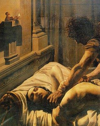 Détail du Meurtre de la reine Galswinthe peint au XIXe siècle par Philastre fils