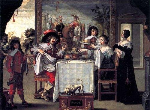Peinture réalisée d'après Le Goût, gravure d'Abraham Bosse (XVIIe siècle)