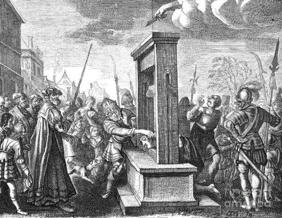 Une guillotine du XVIe siècle. Gravure du temps