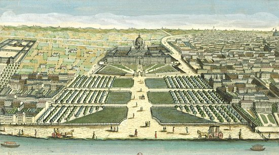 Vue Perspective de l'Hôtel royal des Invalides à Paris en 1770