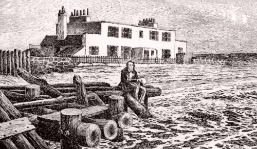 Victor Hugo devant sa maison de Jersey