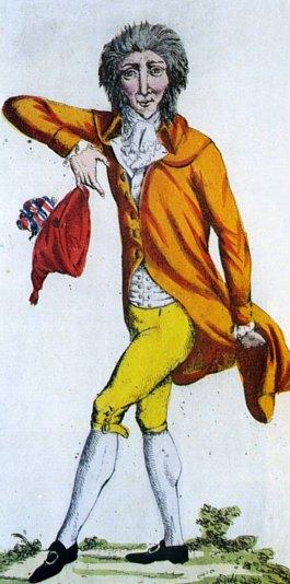 Un jacobin brandissant le bonnet rouge en 1792