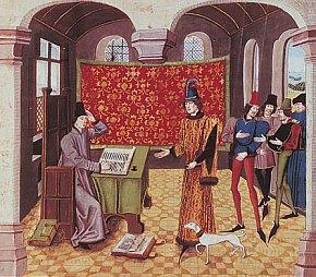 Portrait de Jean Froissart écrivant à sa table et saluant un grand seigneur qui vient lui rendre visite