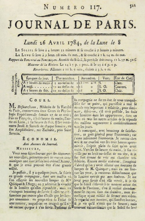 Lettre de Franklin dans le Journal de Paris du 26 avril 1784