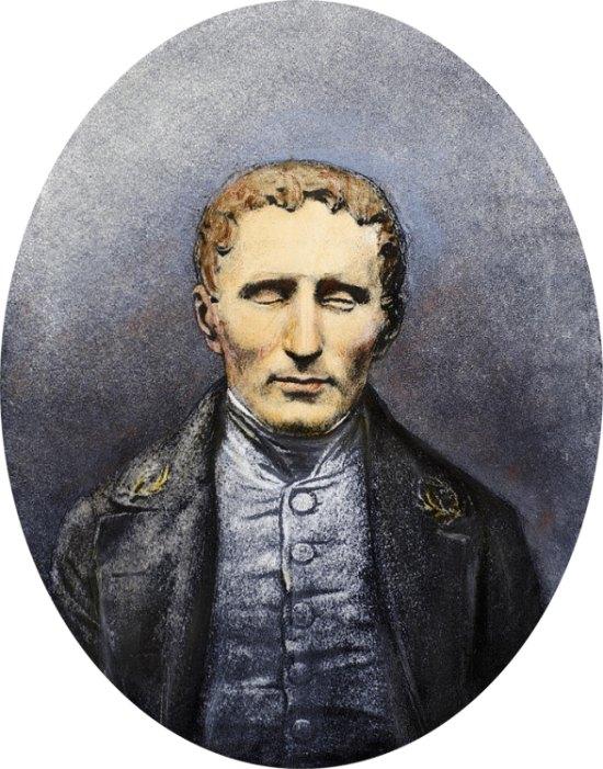 Lithographie réalisée d'après un daguerréotype effectué lors du décès de Louis Braille