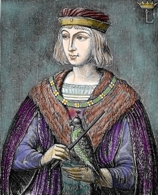Louis IX. Gravure (colorisée) réalisée d'après une peinture de la Sainte-Chapelle à Paris