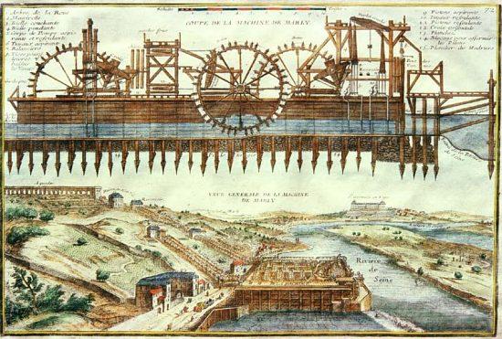 Coupe de la machine de Marly à l'endroit de la prise d'eau dans la Seine, et vue aérienne