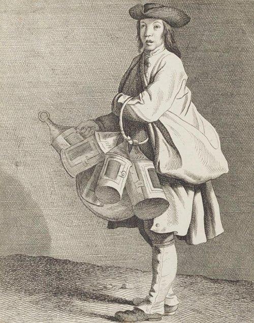 Marchand de lanternes au début du XVIIIe siècle. Gravure de Bouchardon