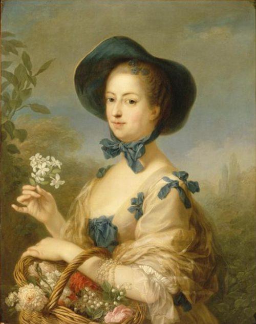 La marquise de Pompadour, portrait dit en Belle jardinière. Peinture de Carle Van Loo