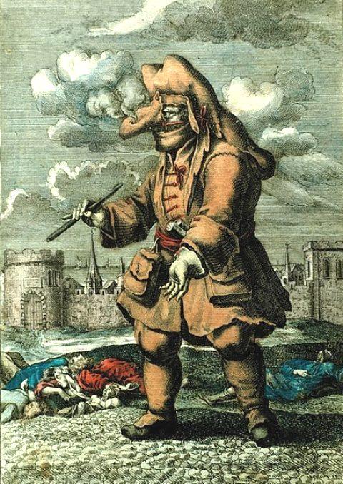 Portrait véritable d'un médecin à Marseille, étant revêtu du marroquin et d'un étui de nez, rempli des parfums contre la peste, de même que portant à la main un petit bâton pour en tâter le pouls aux malades. Gravure (colorisée) de 1720 parue dans Les Gardes-malades congréganistes, mercenaires, amateurs, professionnelles (1901)