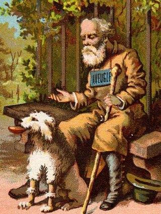 Mendiant aveugle et son chien