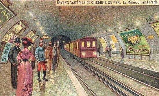 Le métropolitain parisien. Chromolithographie de 1930