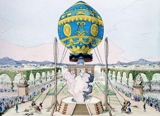 Ascension captive de la première montgolfière habitée dans les jardins de la papeterie Réveillon, le 19 octobre 1783