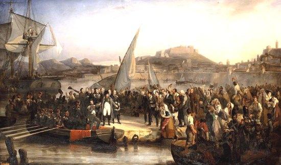 Napoléon quittant l'île d'Elbe le 26 février 1815. Peinture de Joseph Baume (1796-1885)