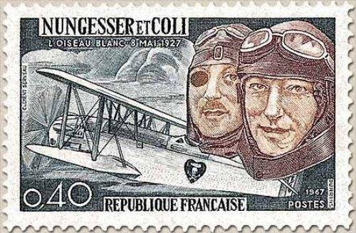Timbre émis pour le 40ème anniversaire de la tentative de traversée de l'Atlantique par Charles Nungesser et François Coli