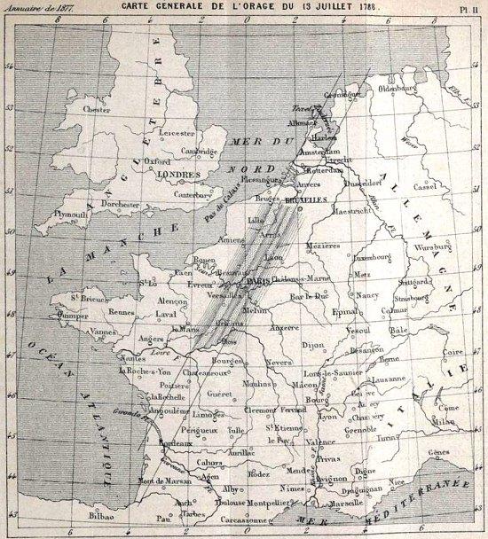 Trayectoria de tormentas eléctricas del 13 de julio de 1788 y áreas devastadas por el granizo