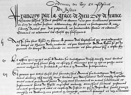 Préambule de l'ordonnance de Villers-Cotterêts