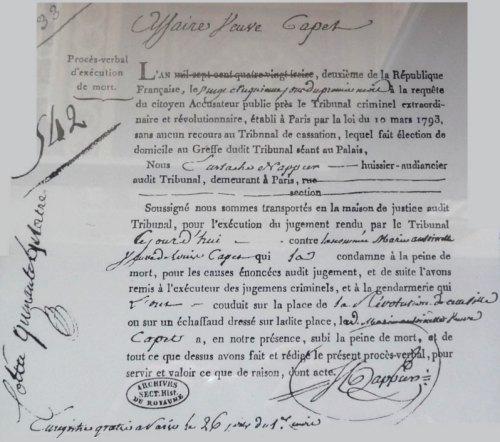 Procès-verbal d'exécution de mort de Marie-Antoinette