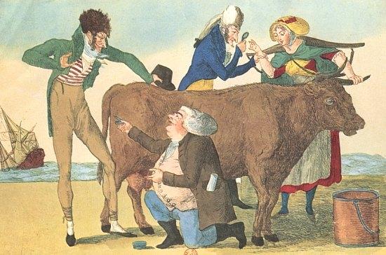 L'origine de la vaccine. Caricature parue au XXe siècle