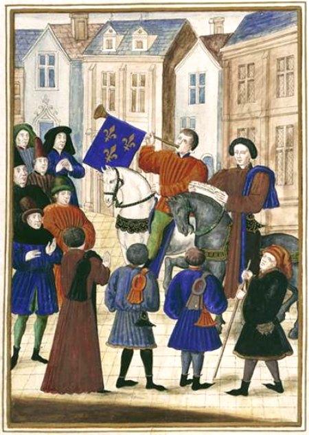 Proclamation de la Paix d'Arras le 2 octobre 1435, après la signature du traité le 18 septembre. D'après une miniature des Chroniques d'Enguerrand de Monstrelet